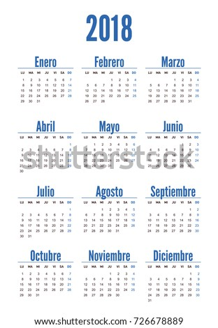 spanish set horizontal vertical calendar 2018 stock vector 719574766 shutterstock. Black Bedroom Furniture Sets. Home Design Ideas