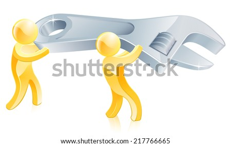 Spanner or wrench gold men illustration, two people carrying a big wrench or spanner - stock vector
