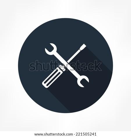 spanner & screwdriver icon - stock vector