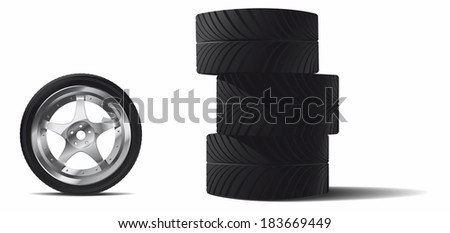 spare wheel - stock vector