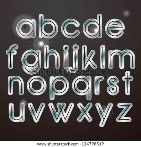 Sparkle elegant silver letters on a dark background - stock vector