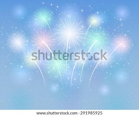 Sparkle fireworks on the blue background, illustration. - stock vector