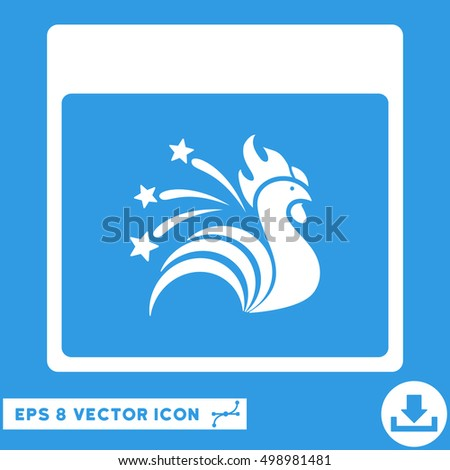 Sparkle Rooster Calendar Page icon. Vector EPS illustration style is flat iconic symbol, white color.