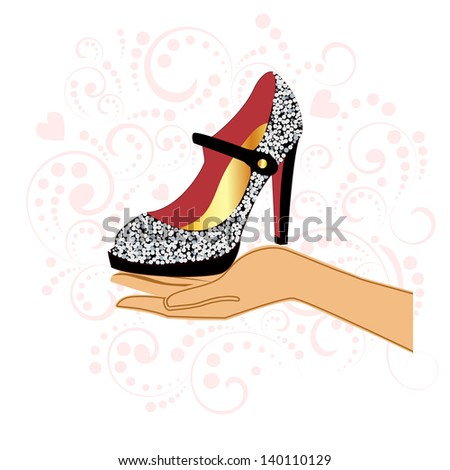 Sparkle shoe in hand - stock vector