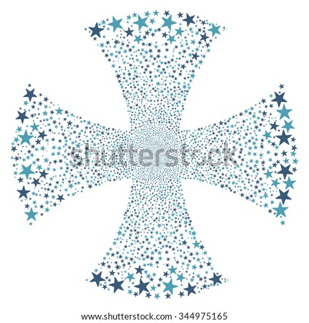 Sparkle Star Maltian Cross vector illustration. Style is cyan and blue bicolor flat stars, white background. - stock vector
