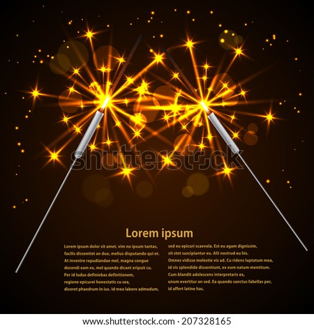 Sparklers on black background. Vector illustration. - stock vector