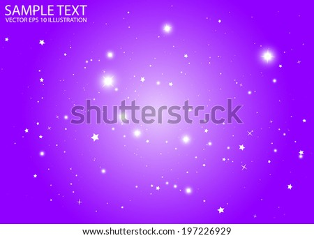 Sparkles and stars in purple space decorative background  template - Sparkle vector purple background illustration - stock vector