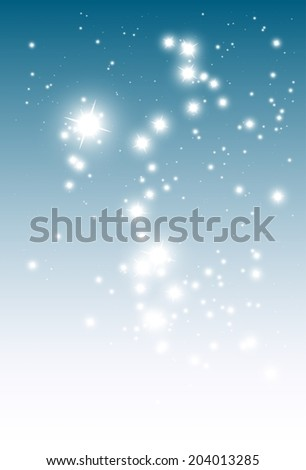 Sparkles blue background vector decoration template - Vector glitters falling blue background illustration - stock vector