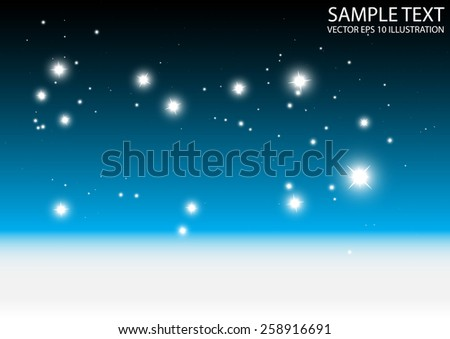 Sparkles over abstract vector blue background illustration - Abstract sparks and glitters blue vector background illustration - stock vector