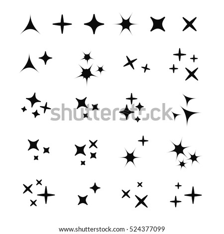 Sparkles white line collection. Sparks vector icons set