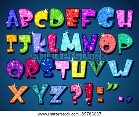 Sparkling alphabet - stock vector