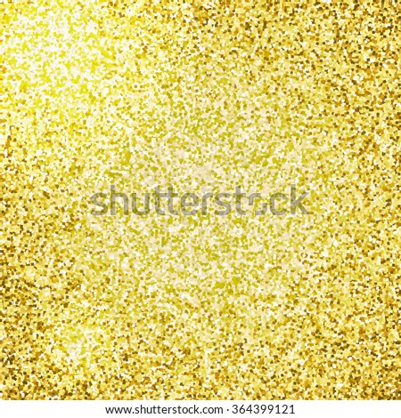 Sparkling background with golden glitters. Vector illustration. Shiny and luminous texture with gold glitters and flares. - stock vector