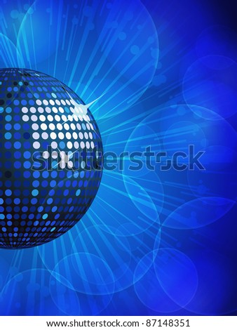 sparkling blue disco ball on a blue star burst background