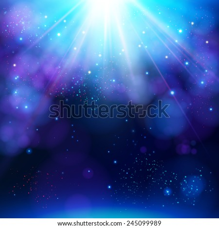 Sparkling blue festive star burst background with a dynamic bright white explosion of rays of light over a twinkling bokeh with copyspace for your greeting or text, vector illustration - stock vector