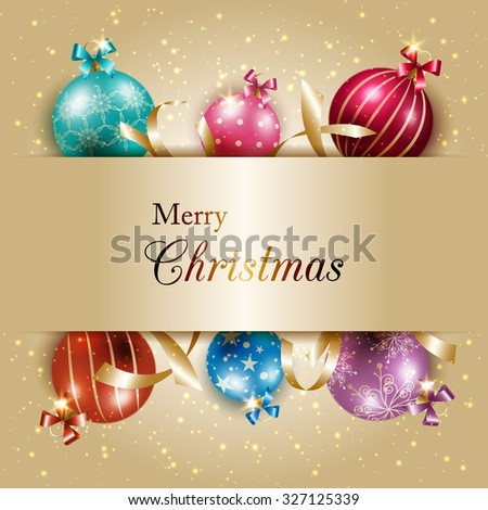 Sparkling Colorful Christmas Ball on Gold Color Background - stock vector