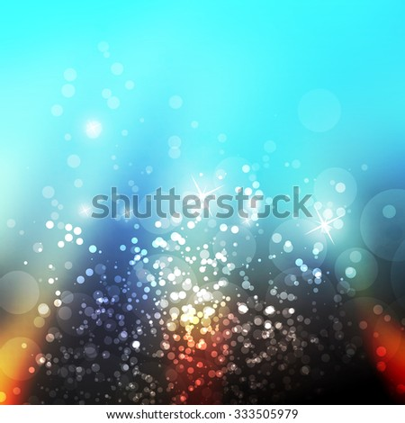 Sparkling Cover Design Template with Abstract, Blurred Background - Cover to Christmas, New Year or Other Designs - Colors: Blue, Orange, Brown - stock vector