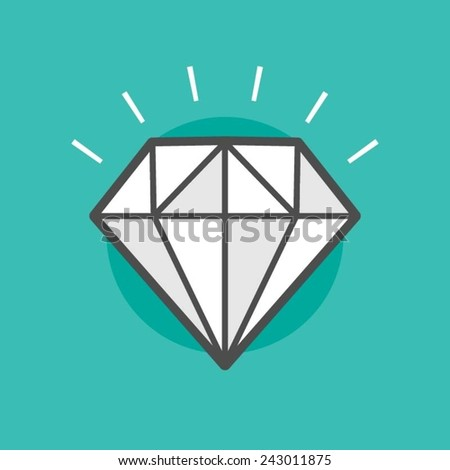 sparkling diamond, vector flat line style illustration - stock vector