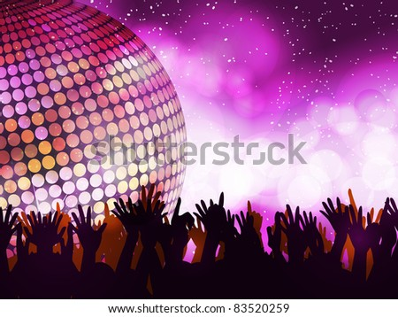 Sparkling disco ball with crowd partying on a glowing background - stock vector