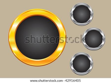 Sparkling gold and silver frame circles - stock vector