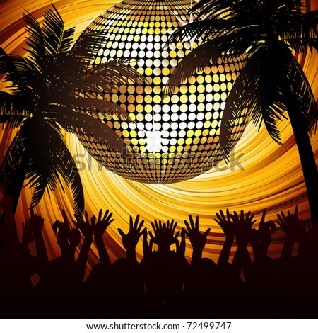 Sparkling gold disco ball and crowd in abstract tropical scene with palm trees - stock vector