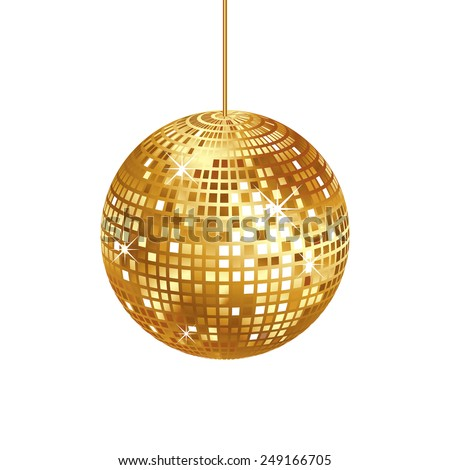 Sparkling gold disco ball isolated on white background, vector illustration - stock vector