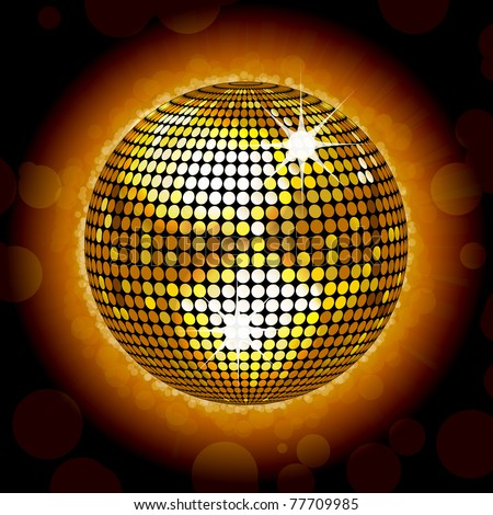 sparkling gold disco ball on a glowing background - stock vector