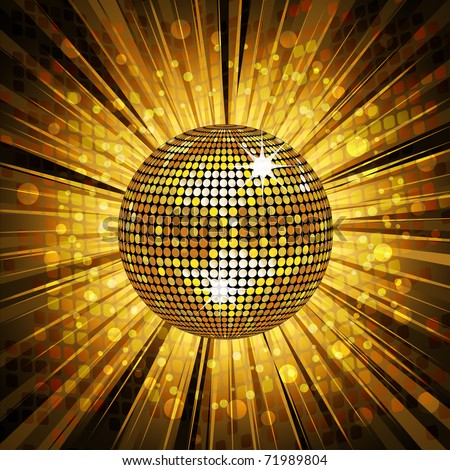 sparkling gold disco ball on satrburst background with grunge detail - stock vector