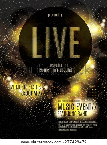 Sparkling gold live music poster template - stock vector