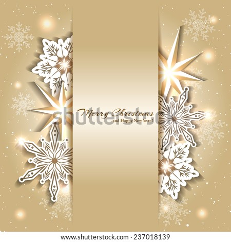 Sparkling Golden Christmas Background with Snowflake - stock vector
