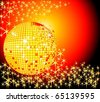 Sparkling golden disco ball with golden stars burstin out from behind - stock photo