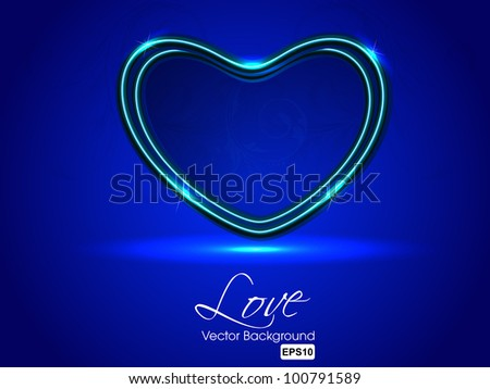 Sparkling heart shape on blue background, can be use as flyer, banner, gift or greeting card. EPS 10. Vector illustration. - stock vector