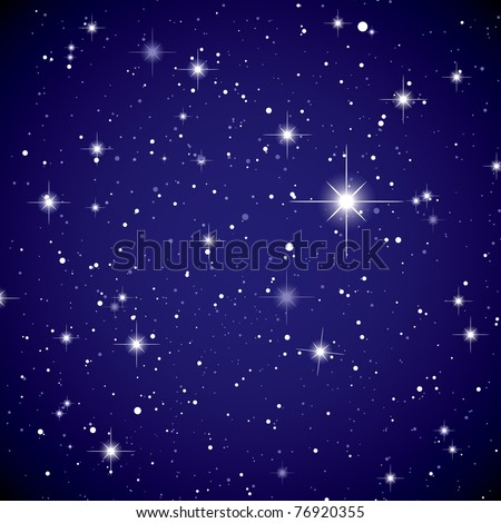 Sparkling nights sky with stars and dark space view - stock vector