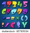 Sparkling numbers and signs - stock photo