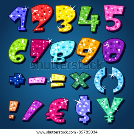 Sparkling numbers and signs - stock vector