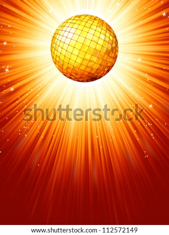 Sparkling orange red disco ball. EPS 8 vector file included - stock vector