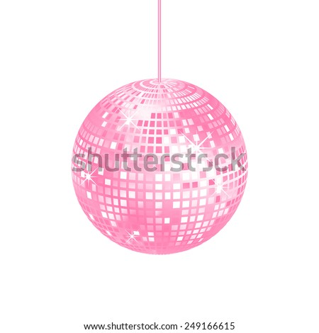 Sparkling pink disco ball isolated on a white background, vector illustration - stock vector