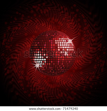 Sparkling red disco ball on a swirling halftone background - stock vector