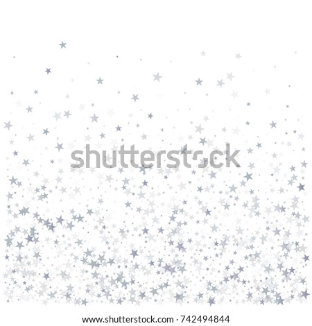 Sparkling Silver Stars Background Golden Christmas Lights Confetti Falling Magic Shining Flying On