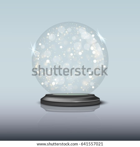 Sparkling snow globe. Vector illustration.