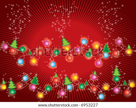 sparkling stars christmas trees and lights (vector) - stock vector