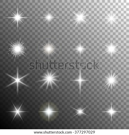 Sparkling stars, flickering and flashing lights. Collection of different light effects in vector - stock vector