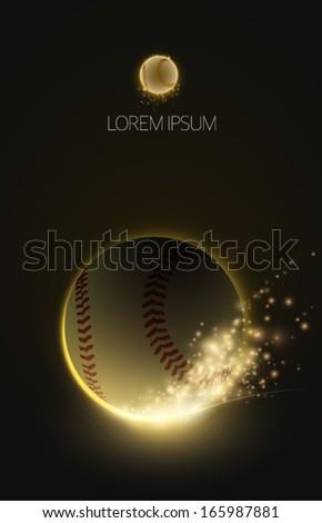 sparkling vector baseball - stock vector