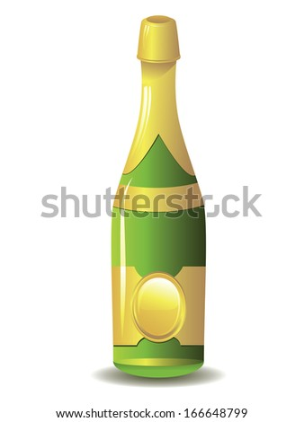 Sparkling wine, champagne bottle on white background.