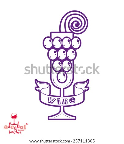 Sparkling wine vector illustration. Stylized empty wineglass with grape vine and beautiful ribbon, racemation symbol best for use in advertising and graphic design. - stock vector