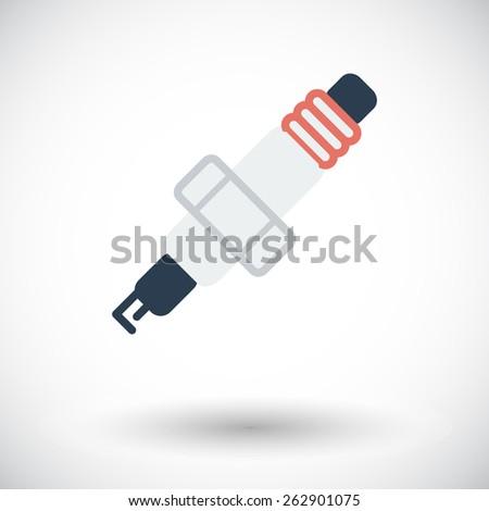 Sparkplug. Single flat icon on white background. Vector illustration. - stock vector