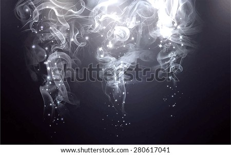 Sparks and smoke light from above background. Vector version - stock vector