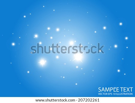 Sparks in space vector background illustration - Abstract vector stars blue background template - stock vector