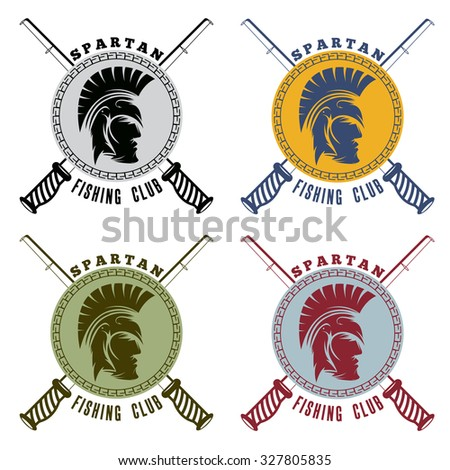 spartan fishing club labels with warrior head - stock vector