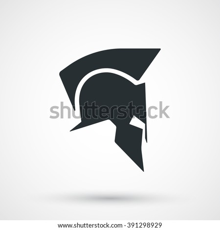 Spartan helmet icon isolated. Roman or greek helmet silhouette. Antiques helmet for head protection soldier. Vector illustration. - stock vector