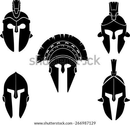 Spartan Helmet Outline Spartan Helmet Silhouette Set
